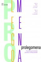 New Issue of Prolegomena – Journal of...